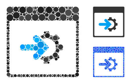 Cog integration calendar page composition of small circles in various sizes and color tinges, based on cog integration calendar page icon. Vector filled circles are grouped into blue composition. Illusztráció