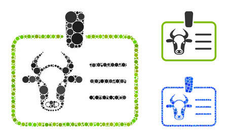 Cow badge composition of filled circles in different sizes and color hues, based on cow badge icon. Vector round dots are united into blue composition.