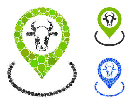 Cow location composition of circle elements in different sizes and color tones, based on cow location icon. Vector round elements are organized into blue composition.