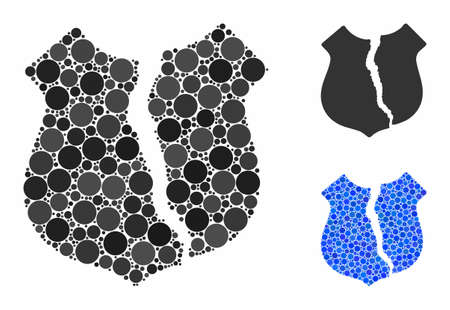 Destroyed shield mosaic of filled circles in different sizes and color tinges, based on destroyed shield icon. Vector small circles are composed into blue mosaic. Illusztráció