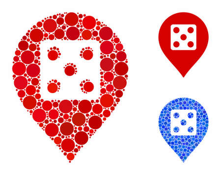 Dice casino marker composition of circle elements in different sizes and color tints, based on dice casino marker icon. Vector round elements are composed into blue mosaic.
