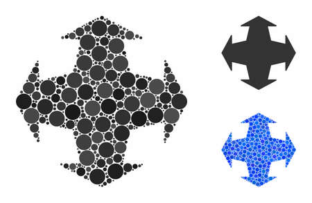 Directions mosaic of round dots in different sizes and color tints, based on directions icon. Vector round dots are grouped into blue collage. Dotted directions icon in usual and blue versions.
