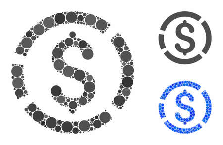 Dollar diagram composition of small circles in various sizes and color tinges, based on dollar diagram icon. Vector random circles are grouped into blue composition. Illusztráció