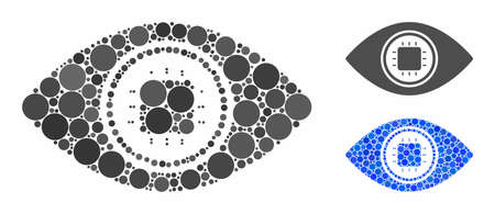 Electronic eye lens mosaic of round dots in different sizes and shades, based on electronic eye lens icon. Vector round dots are united into blue mosaic. 向量圖像