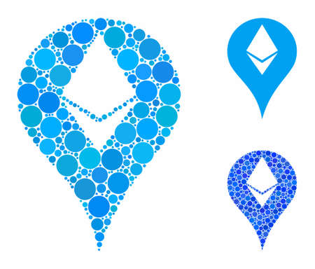 Ethereum map marker mosaic of round dots in various sizes and color tints, based on Ethereum map marker icon. Vector filled circles are combined into blue mosaic.