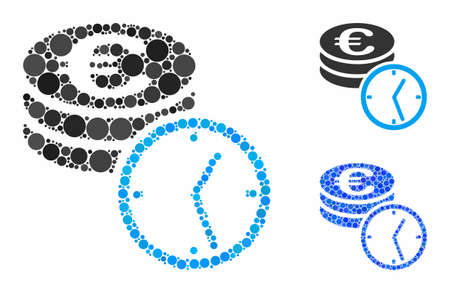 Euro coins and time mosaic of filled circles in various sizes and color tones, based on Euro coins and time icon. Vector filled circles are organized into blue mosaic.