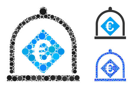 Euro deposit mosaic of circle elements in different sizes and color hues, based on Euro deposit icon. Vector circle elements are grouped into blue mosaic.