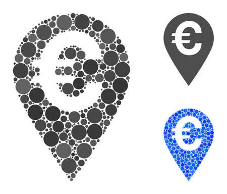 Euro map marker composition of filled circles in various sizes and color tinges, based on Euro map marker icon. Vector filled circles are organized into blue composition.