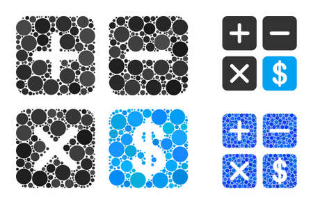 Financial calculator composition of round dots in variable sizes and color tints, based on financial calculator icon. Vector round dots are grouped into blue composition. 版權商用圖片 - 132882468