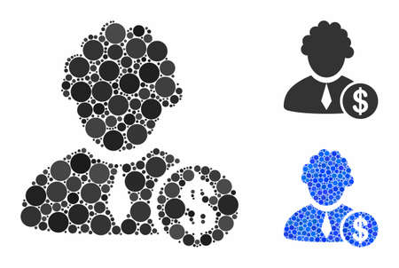 Financial judge composition of filled circles in variable sizes and color tinges, based on financial judge icon. Vector filled circles are combined into blue illustration. Illusztráció