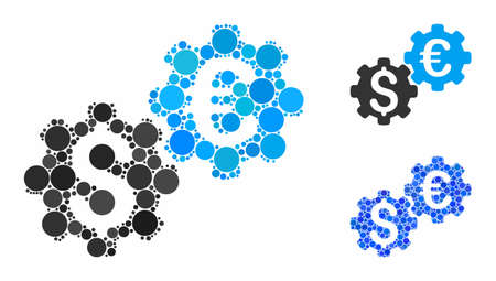 Financial mechanics mosaic of filled circles in various sizes and shades, based on financial mechanics icon. Vector random circles are united into blue mosaic. Illusztráció