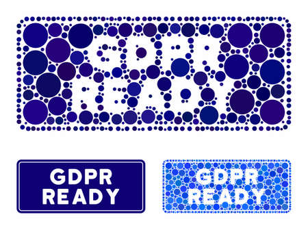 GDPR Ready rounded rectangle mosaic of filled circles in different sizes and color tones, based on GDPR Ready rounded rectangle icon. Vector filled circles are organized into blue composition.
