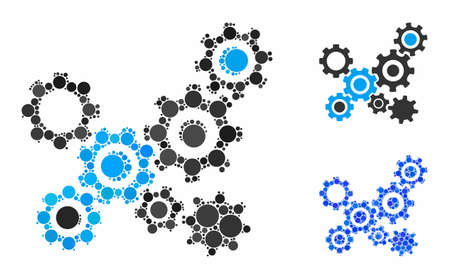 Gears mechanism mosaic of circle elements in various sizes and shades, based on gears mechanism icon. Vector filled circles are united into blue mosaic. Illusztráció