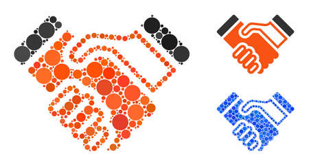 Handshake mosaic of small circles in variable sizes and shades, based on handshake icon. Vector small circles are grouped into blue mosaic. Dotted handshake icon in usual and blue versions.  イラスト・ベクター素材