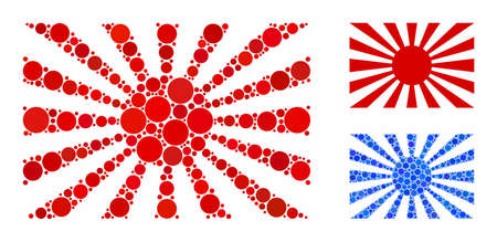 Japanese rising sun mosaic of spheric dots in different sizes and color tones, based on Japanese rising sun icon. Vector round dots are combined into blue mosaic.