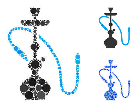 Hookah composition of small circles in different sizes and color tinges, based on hookah icon. Vector small circles are combined into blue composition. Dotted hookah icon in usual and blue versions. Illustration