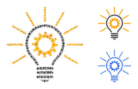 Innovation bulb composition of spheric dots in different sizes and color tints, based on innovation bulb icon. Vector dots are composed into blue composition. Illustration