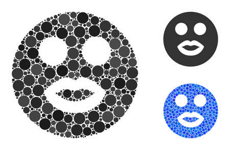 Lady smiley composition of small circles in variable sizes and shades, based on lady smiley icon. Vector small circles are composed into blue mosaic. Çizim