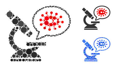 Microbe zooming mosaic of round dots in different sizes and shades, based on microbe zooming icon. Vector round dots are combined into blue composition. Çizim