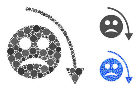 Negative smiley trend mosaic of circle elements in various sizes and color tints, based on negative smiley trend icon. Vector circle elements are combined into blue illustration.