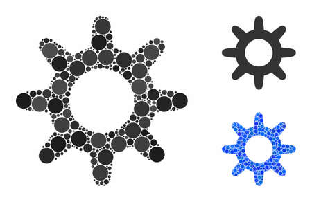 Pinion mosaic of round dots in different sizes and color hues, based on pinion icon. Vector dots are united into blue mosaic. Dotted pinion icon in usual and blue versions.