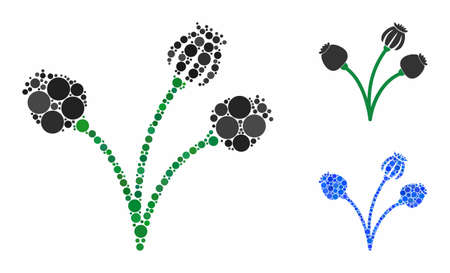 Opium poppy plant composition of filled circles in various sizes and color tones, based on opium poppy plant icon. Vector filled circles are combined into blue collage. Иллюстрация