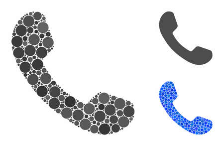 Phone receiver mosaic of spheric dots in various sizes and color hues, based on phone receiver icon. Vector circle elements are organized into blue mosaic. Иллюстрация