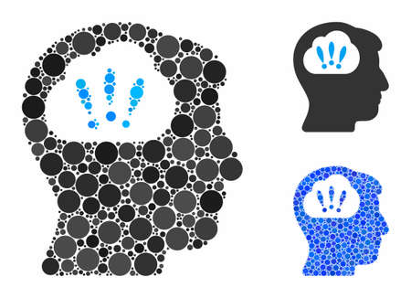 Problem brainstorm composition of spheric dots in various sizes and color hues, based on problem brainstorm icon. Vector round dots are combined into blue illustration. Ilustrace