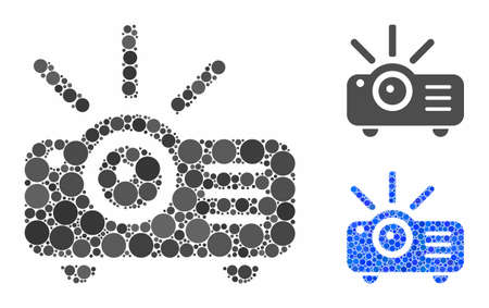 Projector mosaic of spheric dots in variable sizes and color tints, based on projector icon. Vector dots are composed into blue illustration. Dotted projector icon in usual and blue versions. Illustration