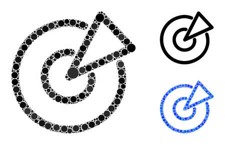 Radar composition of round dots in various sizes and color tinges, based on radar icon. Vector dots are composed into blue composition. Dotted radar icon in usual and blue versions.