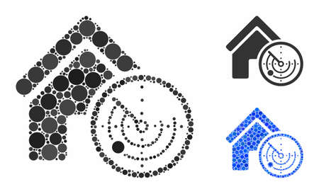 Realty radar mosaic of spheric dots in various sizes and shades, based on realty radar icon. Vector dots are composed into blue mosaic. Dotted realty radar icon in usual and blue versions. 일러스트