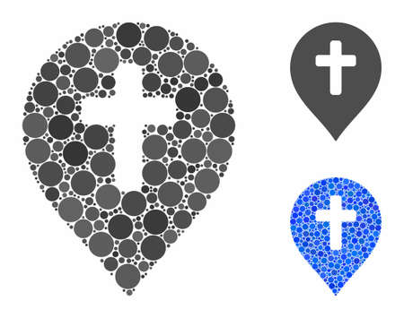 Religion cross marker mosaic of round dots in variable sizes and color tinges, based on religion cross marker icon. Vector round dots are composed into blue collage. 向量圖像