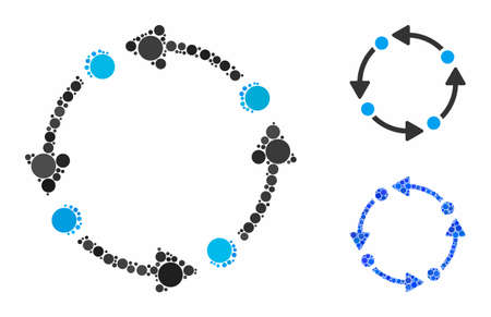 Rotate composition of small circles in variable sizes and color tones, based on rotate icon. Vector filled circles are organized into blue composition. Dotted rotate icon in usual and blue versions. Illusztráció