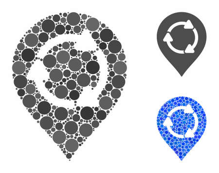 Rotation map marker mosaic of round dots in variable sizes and color tones, based on rotation map marker icon. Vector round dots are composed into blue collage.