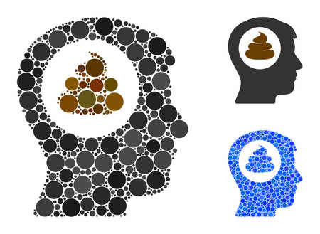 Shit idea head mosaic of small circles in variable sizes and shades, based on shit idea head icon. Vector small circles are grouped into blue composition.