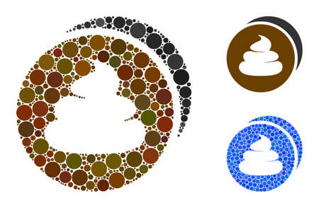 Shit coins mosaic of round dots in different sizes and color tones, based on shit coins icon. Vector round dots are united into blue mosaic. Dotted shit coins icon in usual and blue versions.