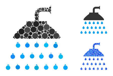 Shower composition of small circles in different sizes and color hues, based on shower icon. Vector random circles are organized into blue composition. Dotted shower icon in usual and blue versions.