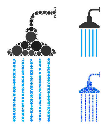 Shower mosaic of spheric dots in different sizes and color tones, based on shower icon. Vector round dots are grouped into blue mosaic. Dotted shower icon in usual and blue versions.