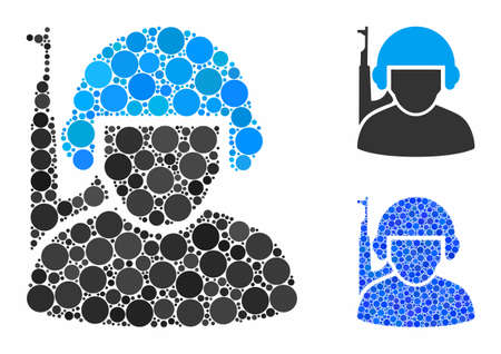 Soldier mosaic of circle elements in different sizes and color tinges, based on soldier icon. Vector circle elements are composed into blue collage. Dotted soldier icon in usual and blue versions.