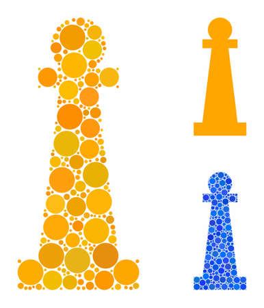 Stanchion composition of spheric dots in various sizes and color hues, based on Stanchion icon. Vector dots are grouped into blue composition. Dotted Stanchion icon in usual and blue versions. Illustration
