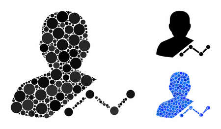 User analytics composition of round dots in various sizes and color tinges, based on user analytics icon. Vector dots are grouped into blue composition.