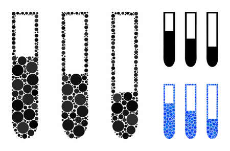 Test-tubes mosaic of round dots in different sizes and color tints, based on test-tubes icon. Vector round dots are organized into blue mosaic. Dotted test-tubes icon in usual and blue versions.