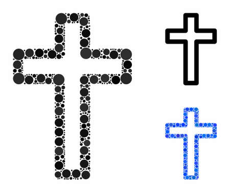 Tomb cross mosaic of filled circles in variable sizes and color hues, based on tomb cross icon. Vector filled circles are organized into blue composition.