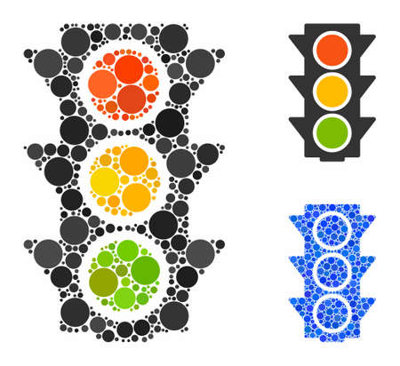 Traffic lights on composition of round dots in variable sizes and color tinges, based on traffic lights on icon. Vector round dots are combined into blue illustration. Banque d'images - 132894946