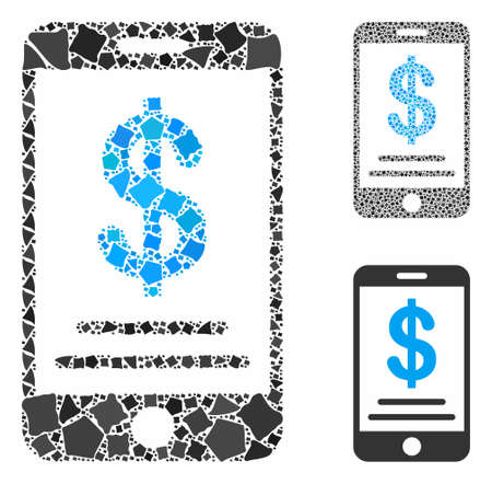 Dollar mobile wallet mosaic of unequal elements in different sizes and shades, based on dollar mobile wallet icon. Vector abrupt elements are grouped into mosaic.