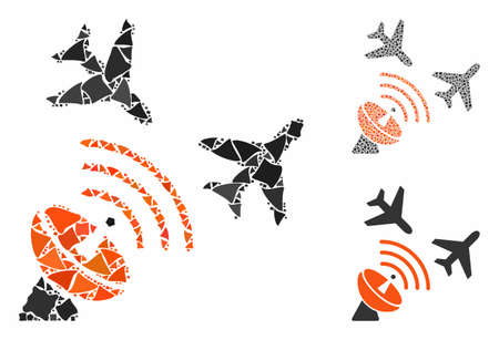 Flight radar mosaic of tremulant items in different sizes and shades, based on flight radar icon. Vector raggy items are grouped into collage. Flight radar icons collage with dotted pattern.