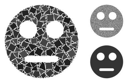 Neutral smiley mosaic of bumpy parts in different sizes and color tinges, based on neutral smiley icon. Vector ragged parts are combined into mosaic. Neutral smiley icons collage with dotted pattern.