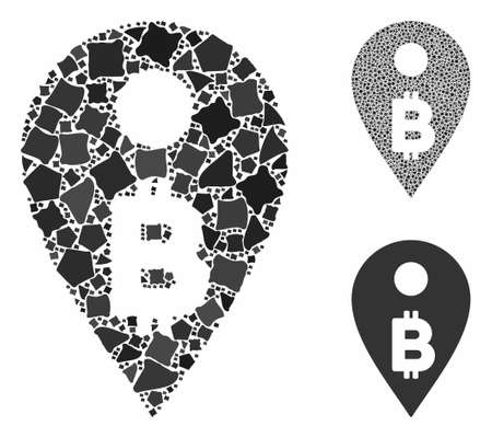 Bitcoin map marker composition of unequal pieces in different sizes and color tints, based on Bitcoin map marker icon. Vector rough pieces are grouped into composition. Illustration
