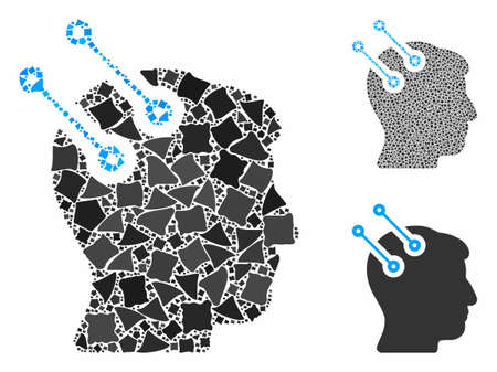 Neural interface connectors composition of rugged parts in variable sizes and color tones, based on neural interface connectors icon. Vector rugged dots are grouped into collage.