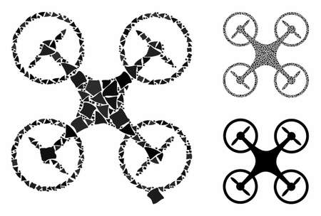 Air drone composition of humpy items in different sizes and shades, based on air drone icon. Vector humpy parts are grouped into composition. Air drone icons collage with dotted pattern.